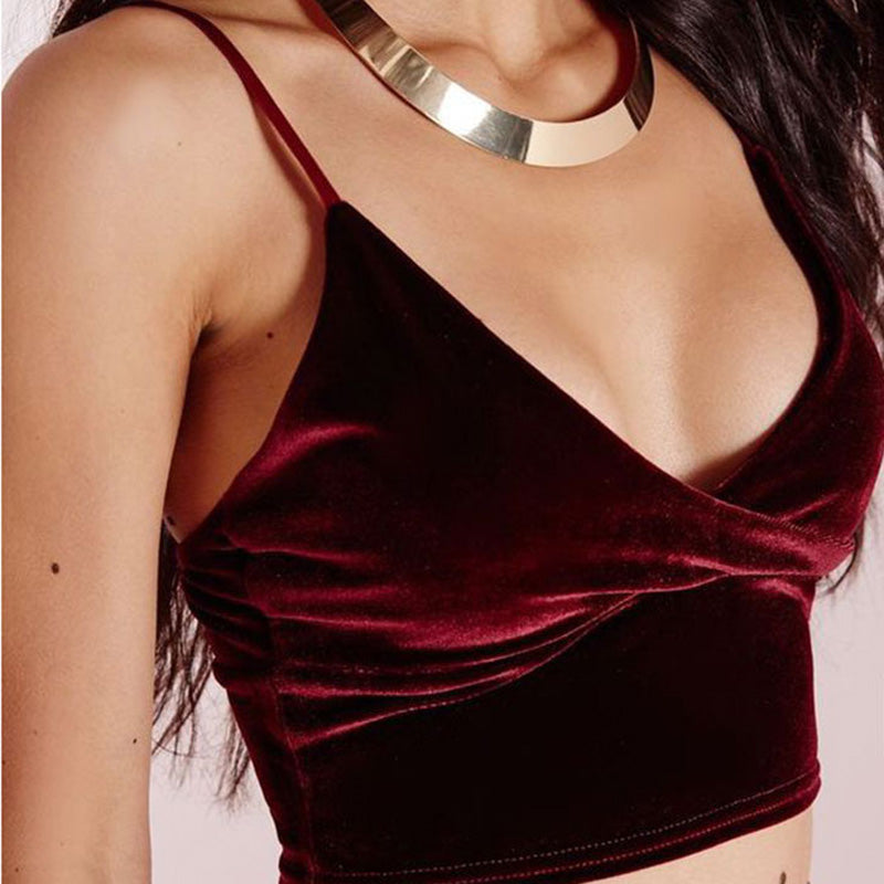 strappy red velvet crop top on model