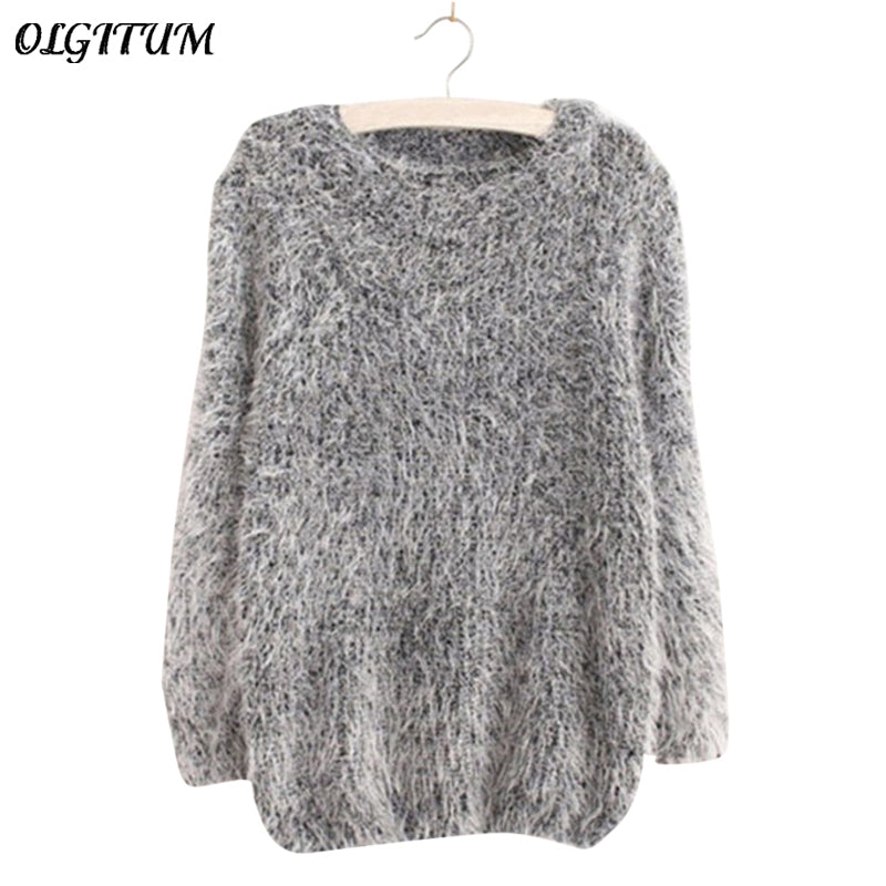 Mohair Pullover 2018 Autumn Winter Women's o-Neck Sweater Women Hedging Loose Pullover Casual Sweater Cheap Wholesale Drop Ship -  - fnes