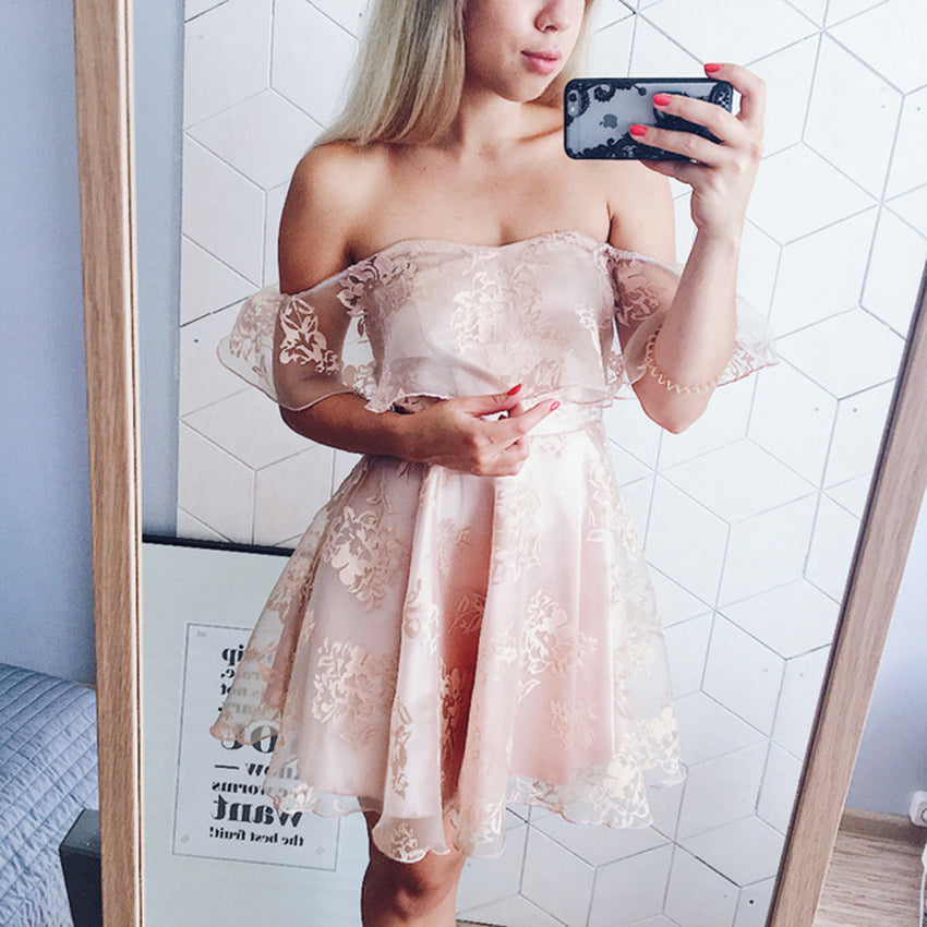 Off-the-Shoulder Lace Dress - Clothing - fnes