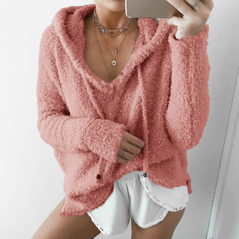 2018 Autumn Women Mohair Sweater Hooded Pullover V Neck Cashmere Sweaters Fashion Sweet Loose Warm Winter Mohair Tops Pullover -  - fnes