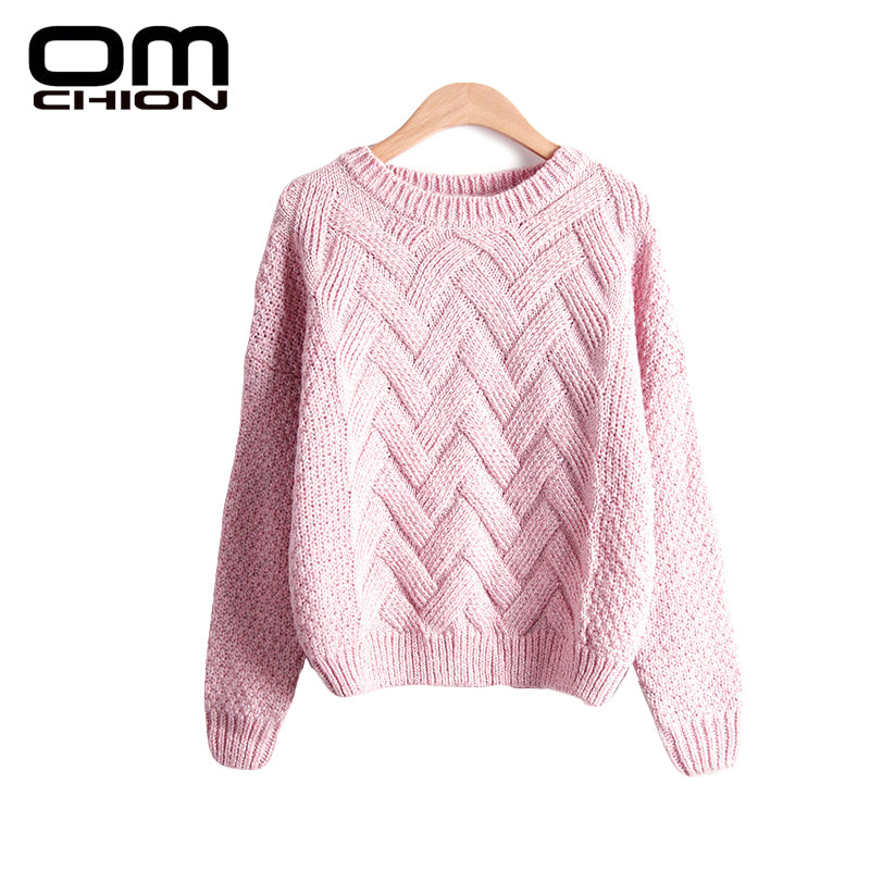 Pull Femme 2018 Autumn Winter Women Sweaters And Pullovers Plaid Thick Knitting Mohair Sweater Female Loose Variegated LMY12 -  - fnes