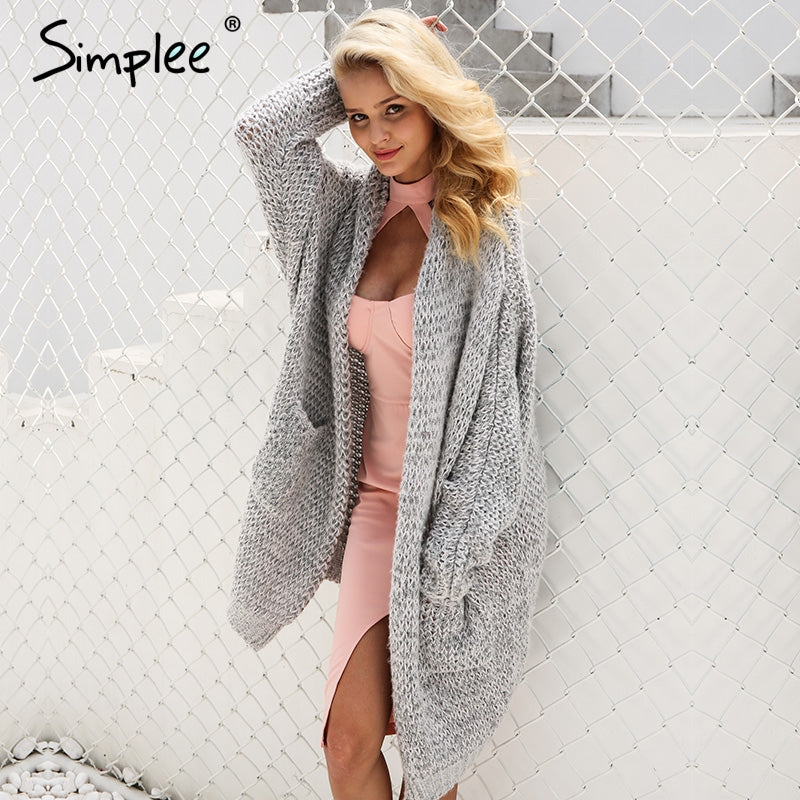 Simplee Casual knitting long cardigan female Loose kimono cardigan knitted jumper 2017 warm winter sweater women cardigan -  - fnes