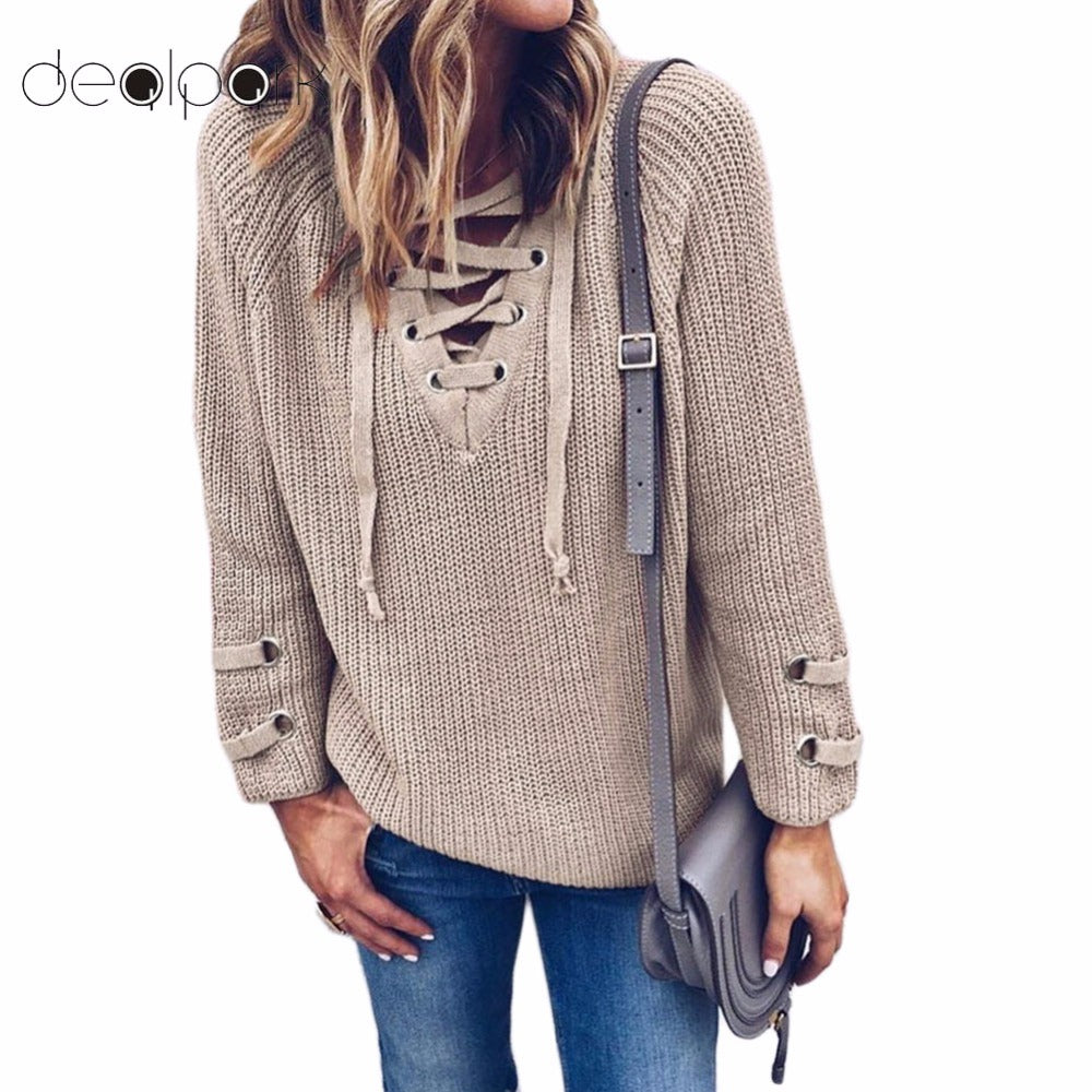 2018 Women V Neck Knitted Lace-up Sweater Striped Bandage Cross Ties Pullover Loose Casual Long Knitwear Jumper Top Sweter Mujer -  - fnes