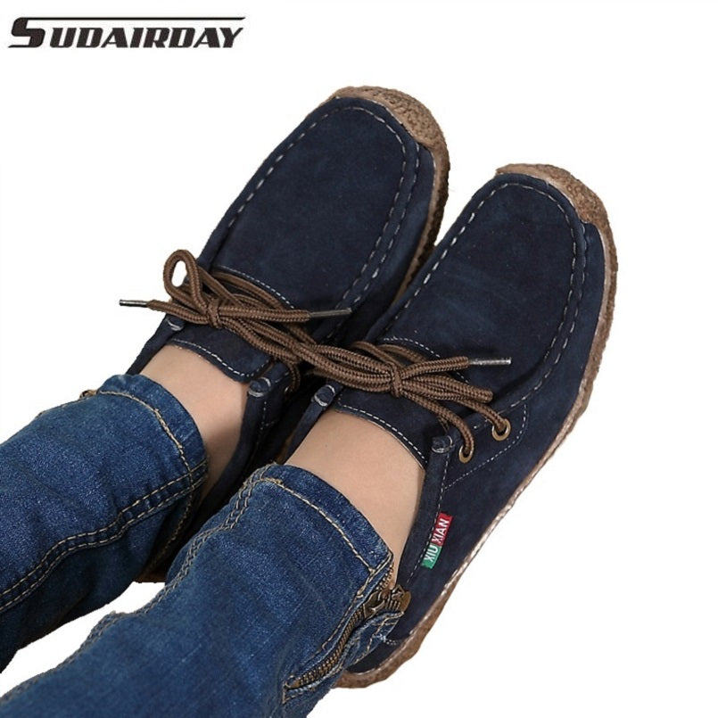 Casual Lace-Up Suede Boat Shoes - Women's - fnes