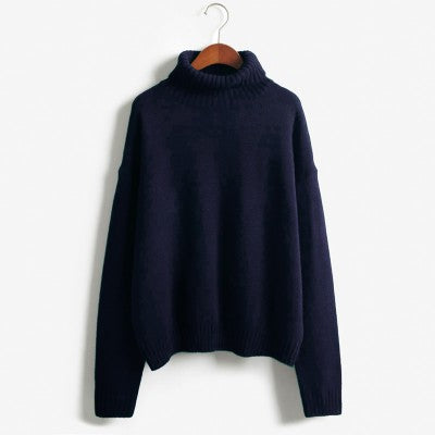1e9c4d61ecd 2015 Autumn and Winter Vintage Women Sweater Long Sleeve Loose Turtleneck  Knitted Pullover Army Green Sweaters