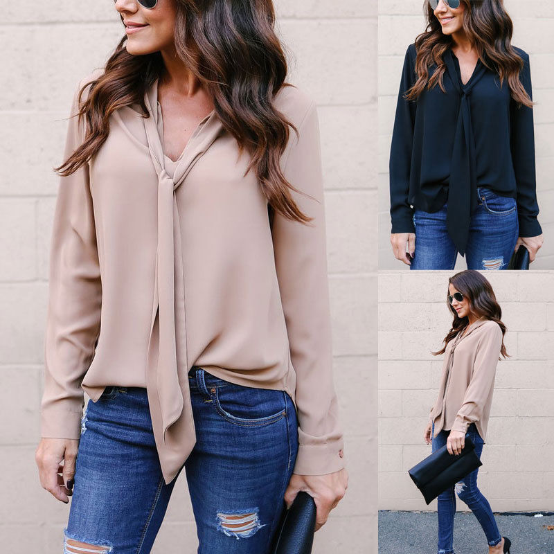 Neck-Tie Blouse - Clothing - fnes