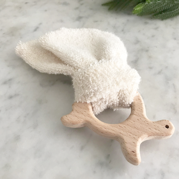 organic wood and cloth teether animal