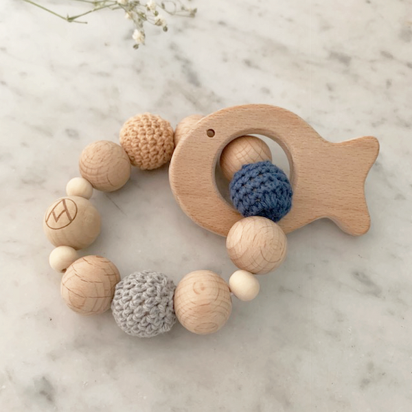 teether rattle wood and cloth