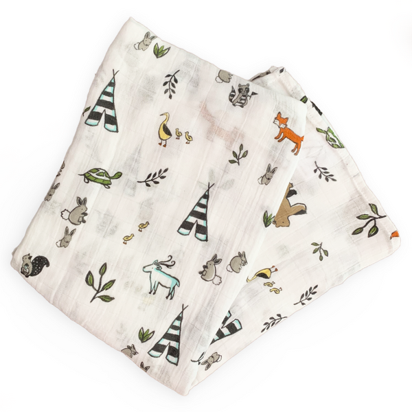 CAMP PALS baby swaddle forest theme