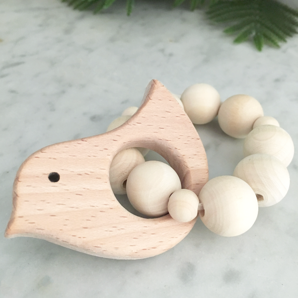 bird natural wood ring teether rattle