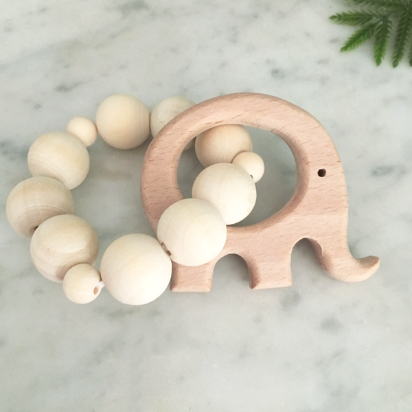 Natural Wood Ring Teether - elephant