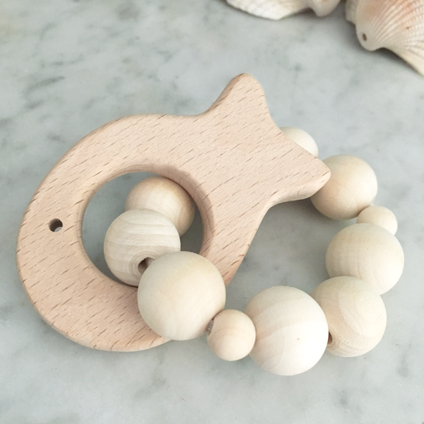 fish natural ring wood teether rattle
