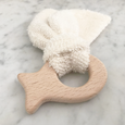 Natural wood and organic terrycloth fish teether