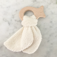 fish shaped wood teether with terrycloth