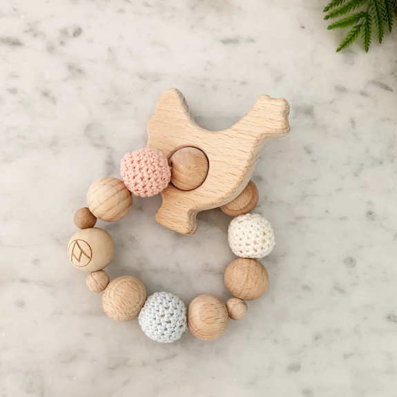 Wood + Crochet Teether Rattle - forget me not