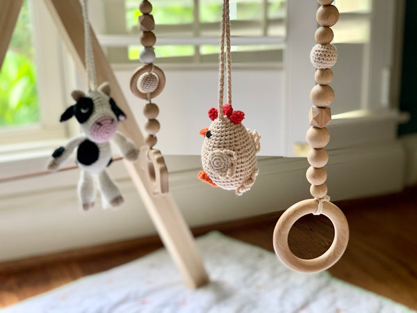 Wooden Baby Gym - farm friends
