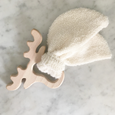 moose shaped wooden teether