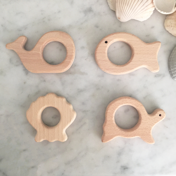 Ocean pals wood teether toy set