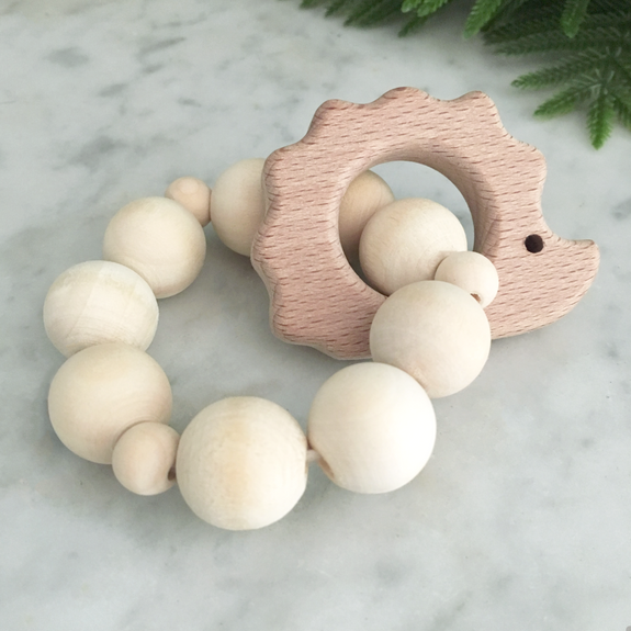 porcupine wood ring teether