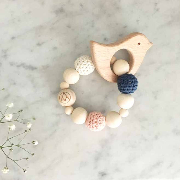 Wood + Crochet Teether Rattle - Rainier