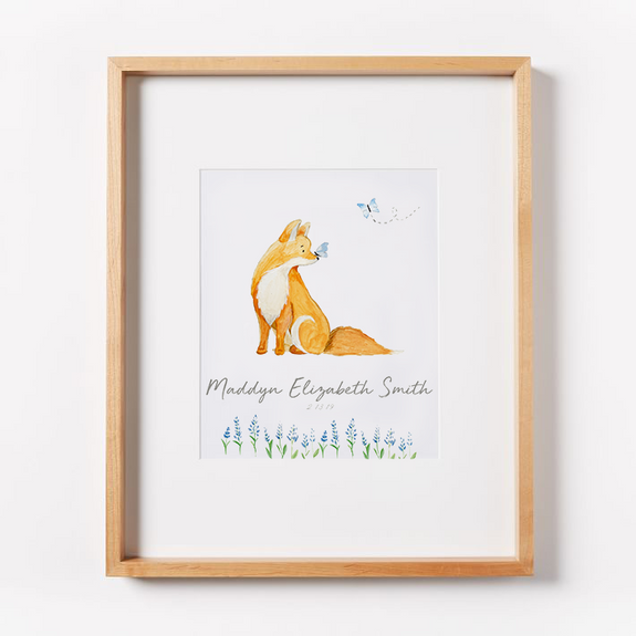 fox butterfly nursery art