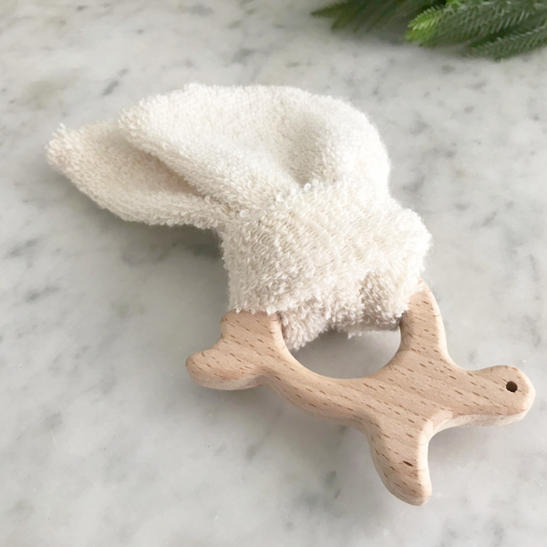 natural wood and organic cloth turtle teether