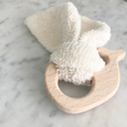 cloth and wood teether whale