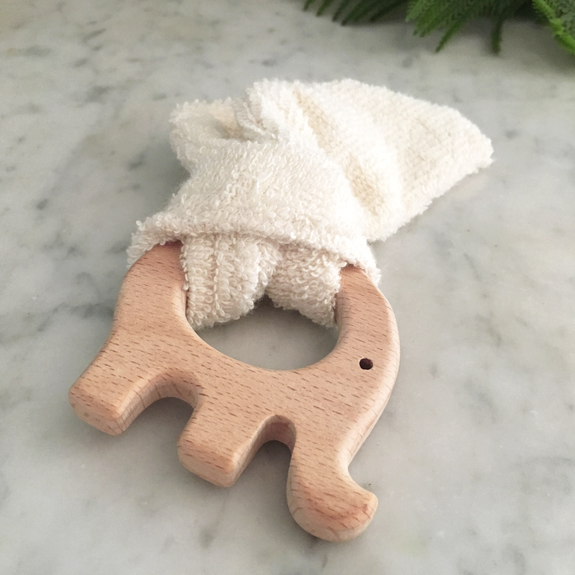 elephant wood and cloth teether