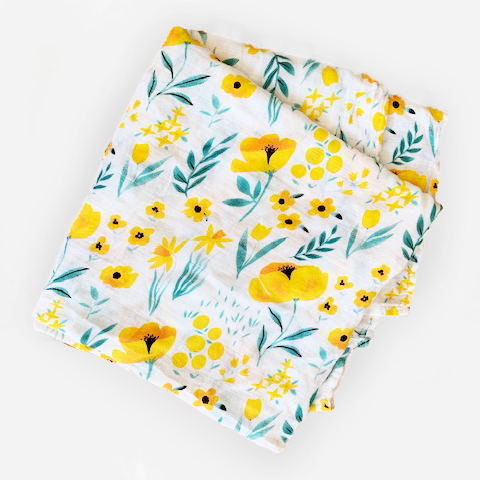 Bamboo + Cotton Swaddle - yellow poppy