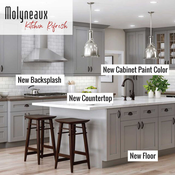 kitchen refresh: New kitchen floor, countertop, backsplash and cabinet paint color.