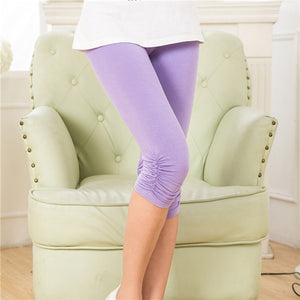 Modal Short Fitness Leggings Women Knee Length Solid Color Soft Comfortable Plus Size