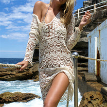 Sexy Women Beach Swimwear Dress Cover up Crochet White and Beige Colors