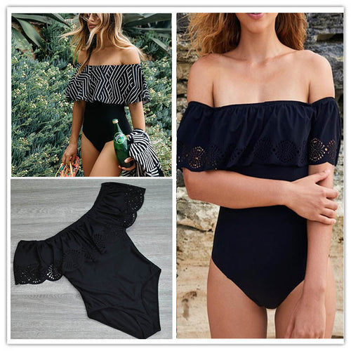 New Sexy Off The Shoulder Solid Swimwear Women One Piece Bathing Suit Ruffle Monokini
