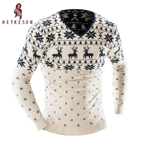 HEYKESON Men's Fashion Animal Print Sweater Men Slim V-Neck Long-Sleeved