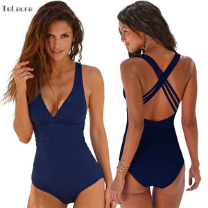 New One Piece Swimsuit Women Swimwear Push Up Bathing Suit Back Cross Bandage Monokini