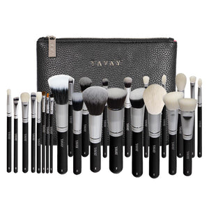 25pcs Original Pro Luxury Artist Makeup Brush Set Goat Hair Synthetic Hair With PU Leather Bag Case
