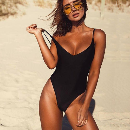 Sexy One Piece Swimsuit Women Fused Swimwear Solid Colors Thong Backless Monokini Beach Bathing Suit