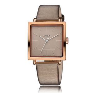 Women Luxury Rose Gold Antique Square Leather Dress Wrist watch