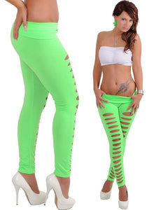 Women Candy Color Leggings Sexy Casual Flared Trousers Hollow Leggings Ripped Cut-out Bandage
