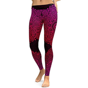 Women Leggings Mandala Flower Digital Print Slim Pink Fitness Woman Leggins Workout Plus Size High Waist Pants