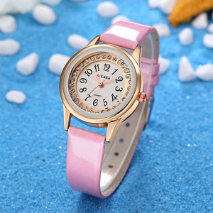 Pu Leather Watches Women Crystal Dress Quartz Wristwatches