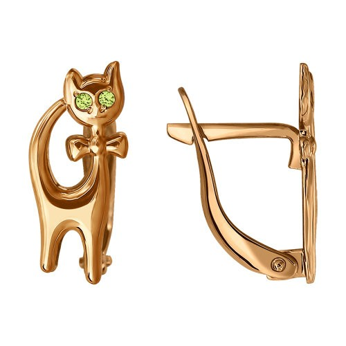 SOKOLOV - Girl Kitten Earrings - Yellow Gold With Phianites, Green