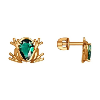SOKOLOV - 585 Gold Frog Stud Earrings With CZ, Green