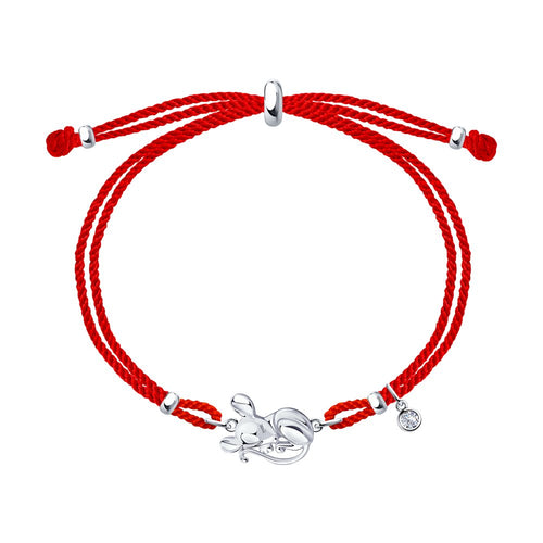 SOKOLOV - Silver Mouse Bracelet On A Red Cord