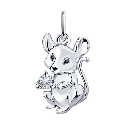 SOKOLOV - Silver Mouse Pendant, Perfect 2020 New Year Present