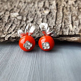 SOKOLOV - Lingonberry Earrings - Sterling Silver 925 With Enamel And CZ, Red