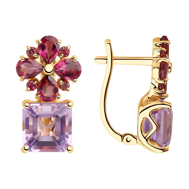 SOKOLOV - Spring Time Red 585 Gold Earrings With Amethyst And Rodoliths, Pink And Purple