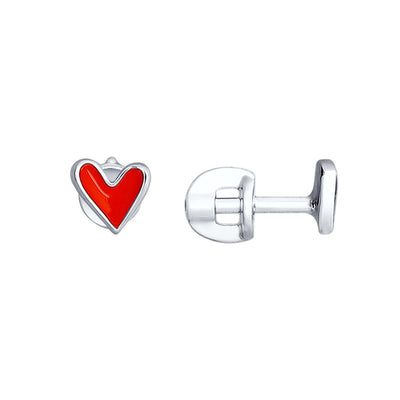 SOKOLOV - Heart Stud Earrings With Enamel, Red