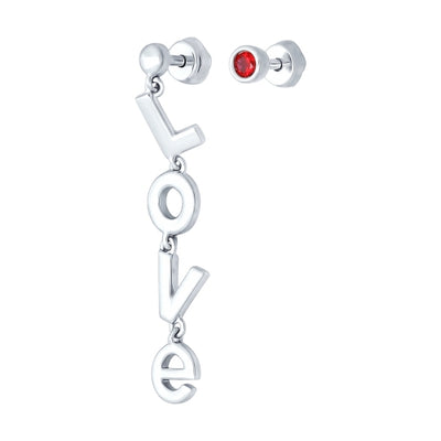 SOKOLOV - Unpaired Love Earrings - Silver 925 With Red CZ