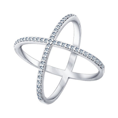 SOKOLOV - Crisscross Phalanx Ring - Sterling Silver 925 With Cubic Zirconia